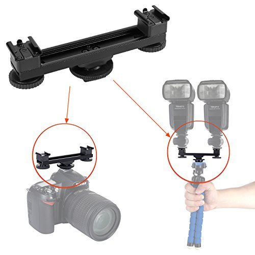 4.7inch Extension Mount Bar Hot Shoe Dual Bracket 1 to 2 Compatible with Canon Nikon Sony Pentax Olympus DSLR Camera, Camcorder, Flashes, Lights, Microphone, DV Camera, LED Video Light