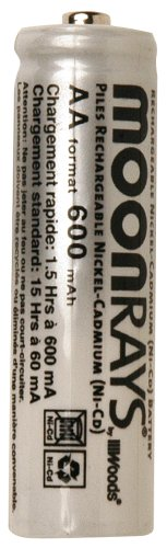 Moonrays 97125 Rechargeable NiCd AA Batteries for Solar-Powered Lights, 1.2V, 600mAH, 4-Pack