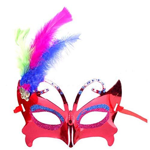 Party Masks - Half Face Butterfly Mask Halloween Party Masquerade Ball Performance Feather Facemask Decoration - On Set Couples Women 100 Sticks Bulk Holloween Masquerade Men