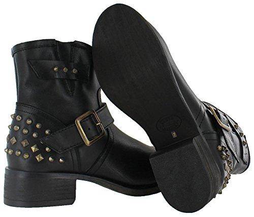 Black Almond Madden Womens Steve Leather Gold Fashion TUF Ankle Toe Boots xRUz7UqBw