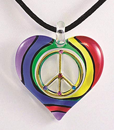 Sign Heart Peace Necklace (Glass Baron ~ LG Peace Sign Rainbow Heart 20 inch Cord Necklace)