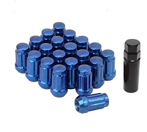 - Bill Smith Auto Performance 20 PCs 6 Spline Blue Lug Nuts W/Key 12mmx1.25mm Cone Seats Long Closed End for Chevrolet Saab Subaru Suzuki Infinity