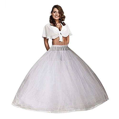 Women's 8 Layers Tulle Petticoats with No Rings for Ball Gown Wedding Dress (White)