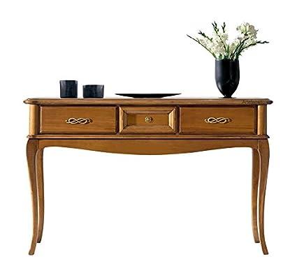 Consolle 3 cassetti maniglieria bronzata, consolle in legno tinta ...