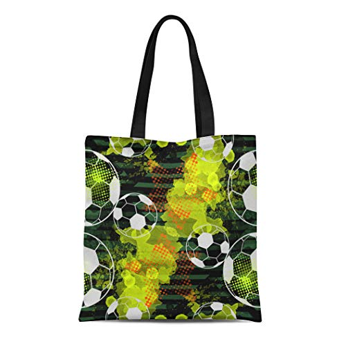 Semtomn Cotton Canvas Tote Bag Championship Urban Sport Soccer Balls Watercolor Stars and Effect Reusable Shoulder Grocery Shopping Bags Handbag Printed