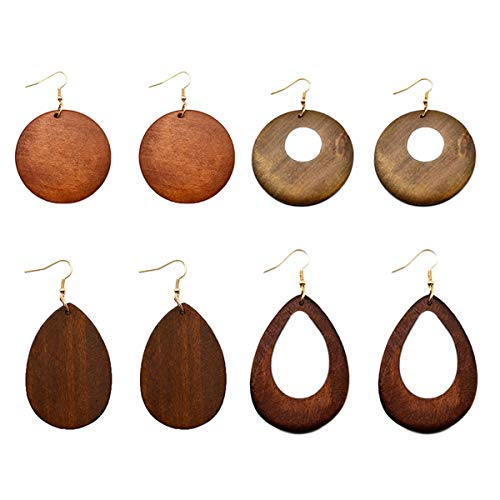 4 Pairs Ethnic Big Geometric Round Circle Teardrop Wood Dangle Earrings Wooden Drop Sets for Women Girls
