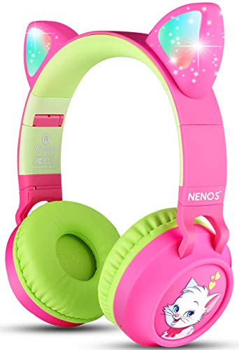Nenos Bluetooth Kids Headphones Wireless Kids Headphones 93dB Limited Volume Wireless Headphones for Kids (Pink Cat Ear)