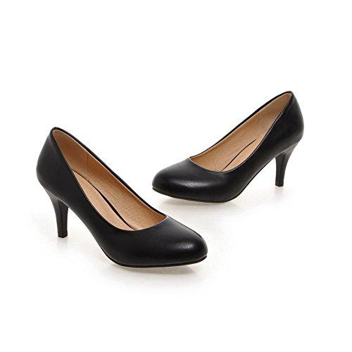 Balamasa Femme Bout Rond À Bout Rond Semelle Antidérapante Imitation Cuir-chaussures Chaussures Noir