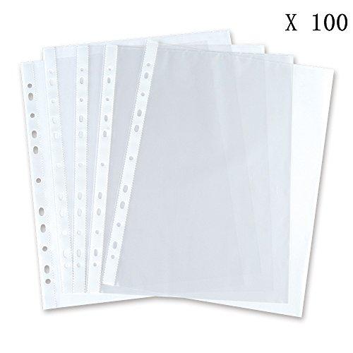 Cmxsevenday No.5710 A4 Size 11 Holes PP Loose Leaf Sheet Protectors, Top Loading Waterproof Sheet Protectors, Clear, 5-Pack (100PCS)