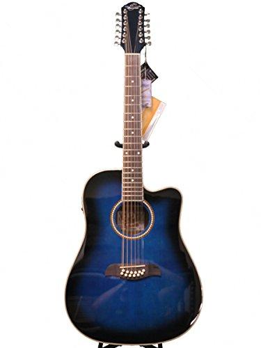 Oscar Schmidt by Washburn 12 String Acoustic/Electric Guitar, OD312CETTBL, Trans Blue (Schmidt String Oscar 12)