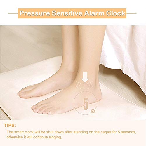 BEYST Pressure Sensitive Rug Carpet Alarm Clock - LED Smart Carpet Digital Alarm Clock Rug Clocks with Softest Touch for Modern Home, Kids, Teens, Girls, Guys and Heavy Sleepers(40cm38cm,White)