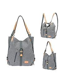 KK Crafts Women Shoulder Bag, Fashion Backpack, Multifunctional Canvas Handbag, Casual Rucksack