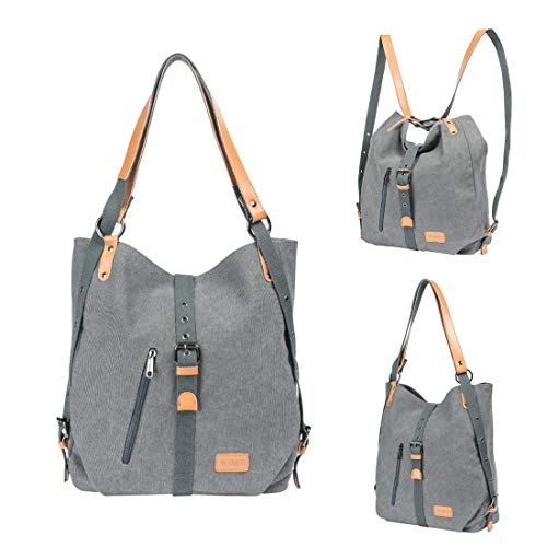 Women Rucksack Backpack Fashion Shoulder Bag Casual Multifunctional Handbag Canvas Grey rpvCqrHwBF