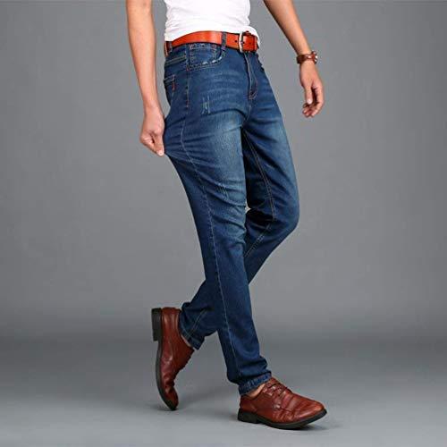 In Gamba Con Jeggings Dunkelblau Pantaloni Casual A Uomo Skinny Jeans Da Denim Moda Retrò Elasticizzati Fit Slim Alla Nem Dritta wTxqTXOP
