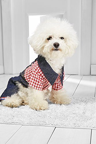 Small Dog Overalls With Shirt For Bichon Frise Jack Russell Lhasa Apso Mini Poodle (Small Size, dark blue, red, - Denim Breed Shirt