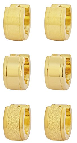 Edforce Stainless Steel Men's Women's Small Huggie Hoop Earrings Triple Set, Three Pairs (Gold)