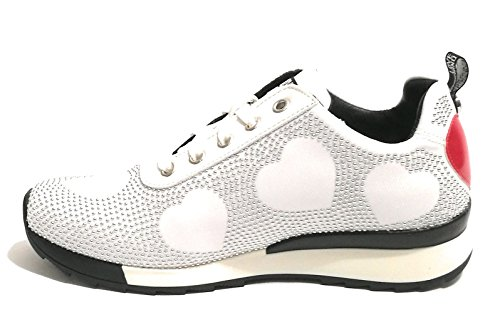 Scarpe Donna Running Sneaker D19MO07 MICROBORCHIE Moschino Silver Bianco Love Jersey dBaxdFw