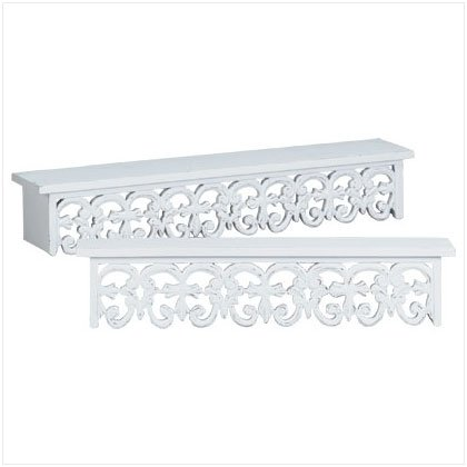 Delicieux 2Pc Distressed White Wood Carved Wall Shelves Shelf Set