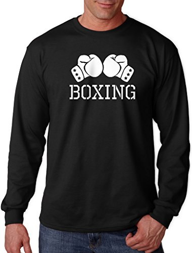 Interstate Apparel Inc Men's Boxing Gloves V434 Black Long Sleeve T-Shirt Medium (Long Sleeve T-shirt Gloves)