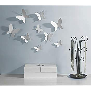 Umbra Mariposa - Metal Wall Décor, White, Set of 9