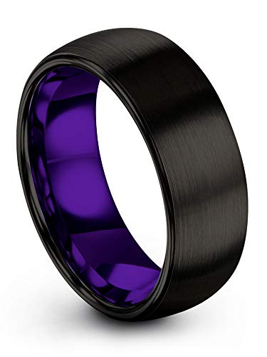 Chroma Color Collection Tungsten Carbide Wedding Band Ring 8mm for Men Women Purple Interior with Black Exterior Dome Brushed Polished Comfort Fit Anniversary Size 12