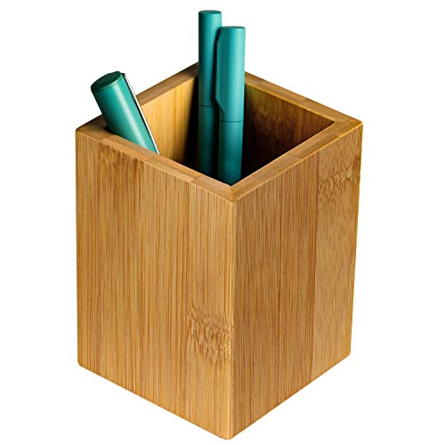 Wooden Pencil Holder (MaxGear Wood Pen Holder Desk Pencil Holders Wooden Pen and Pencil Organizer Cup for Desktop Pens Stand Holder Cups, 3.13 x 3.13 x 4.33 inches, Bamboo,)