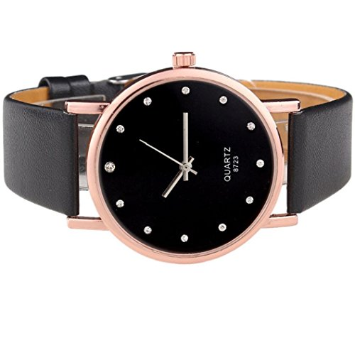 Pc Movement Round Dial (Kinrui Fashion Style Women's Diamond Case Leatheroid Band Round Dial Quartz Wrist Watch (Black))