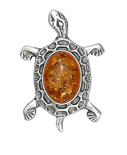 Sterling Silver Honey Cognac Amber Turtle Brooch Pin