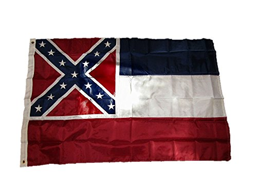 Solarmax Nylon State Flag - AES 4x6 Embroidered Sewn State of Mississippi 210D Solarmax Nylon Flag 4'x6'