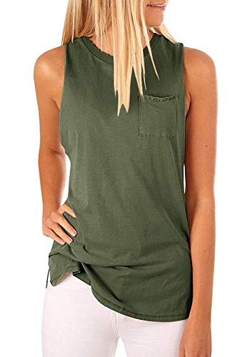 (Hount Ladies Solid Sleeveless Tunic Shirt Summer Tank Tops (Army Green, XL))