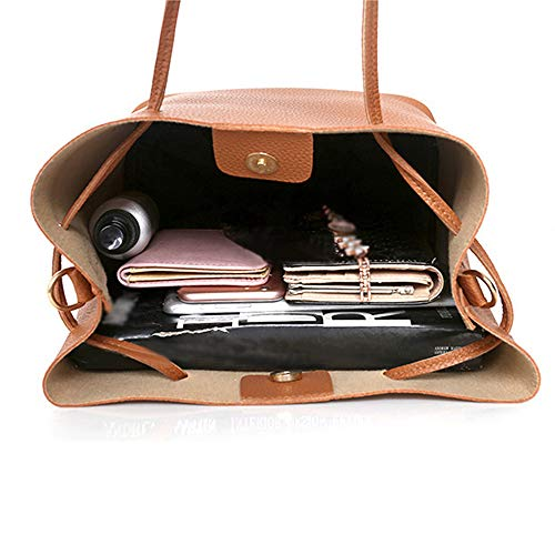 Compuesto Pu Mujeres Cuero Sólido Bolsas Sodial Material Bolso Suave Moda De La Mensajero Solo Hombro marrón Las Bolsa Waxnpg1Uwq