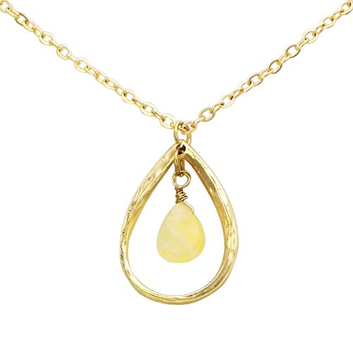 Rosemarie Collections Women's Semi Precious Stone Double Teardrop Pendant Necklace (Ivory)