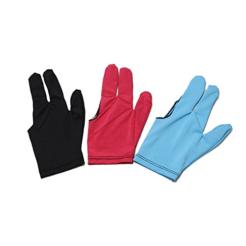 (Scott Edward 3 Fingers Billiard Gloves for Snooker Cue Pool, 12 Pieces 3 Colors Mixed, Left/Right Hand)