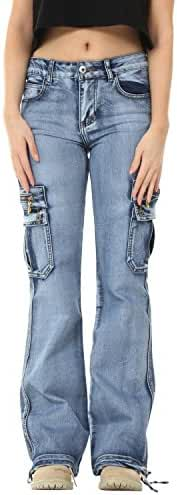Glamour Outfitters Wide Leg  Light Wash Denim Cargo Pants Combat Jeans - Blue