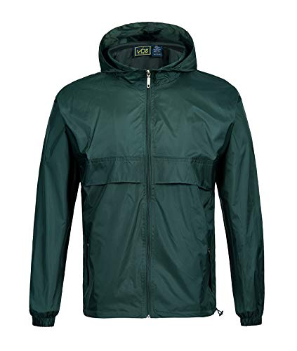 SWISSWELL Men's Lightweight Rain Jacket Waterproof Hooded Rainwear Green