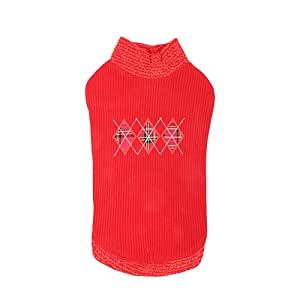 CATSPIA Argyle Round Neck Sweater for Cats and Small Animals, Large, Red