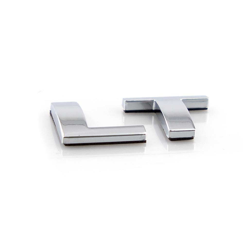2x LT Letter Emblem Nameplate Badge Replacement For Silverado Tahoe Sierra Shiny Silver