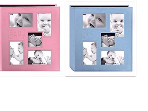 2 Pioneer Collage Frame Embossed Baby Sewn Leatherette Cover Photo Album, 4 x6 , Color Baby Blue Baby Pink