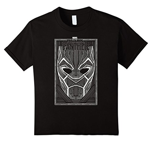 Kids Marvel Black Panther Movie Geo Line Art Mask Poster T-Shirt 12 Black Movie Line Youth T-shirt