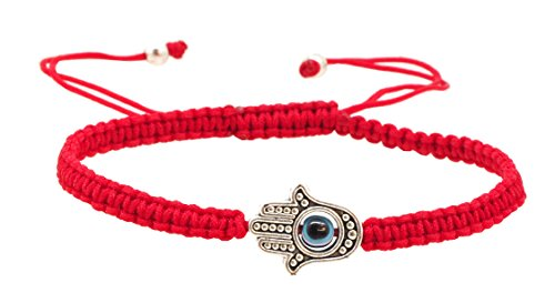 Kabbalah Amulet Lucky Knot Protection Rope Red String Bracelet (Hamsa Hand Evil Eye)