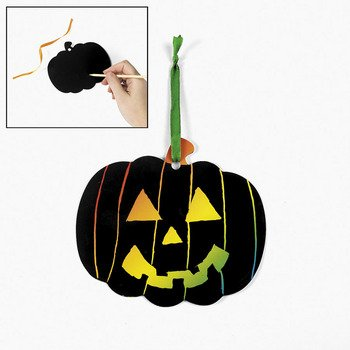 24 Magic Color Scratch Pumpkin Ornaments, Halloween Crafts For Kids, Fall Festival, Trunk or Treat Ideas for $<!--$16.08-->