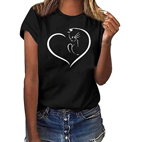 WUAI-Women Girls Plus Size T-Shirt Love Heart Printed Short Sleeve Casual Shirts Summer Tops Blouse(Black,XX-Large) ()