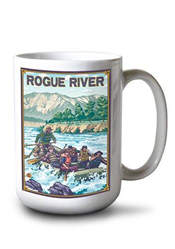 Lantern Press Rogue River, Oregon - White Water Rafting (15oz White Ceramic - Whitewater Rafting Tours