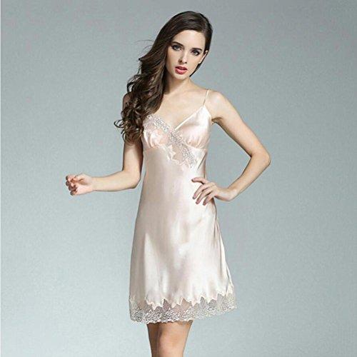 Mujer 100% seda pura Pijama Bata de noche Adecuado para verano / primavera Suave Frío Noble Lujo Regalo Ropa de casa dama Ropa , beige , XL: Amazon.es: ...