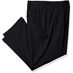 Savane Men's Big and Tall Pleated Stretch Crosshatch Dress Pant, Black, 46W x 30L
