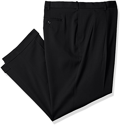 Savane Men's Big and Tall Pleated Stretch Crosshatch Dress Pant, Black, 50W x 32L