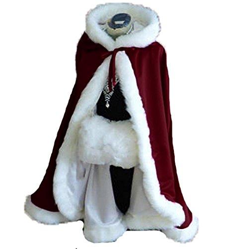 Burgundy Short Women Fur Winter Warm Hood Cape Shawl Wedding Cloak Christmas Party by Lemai