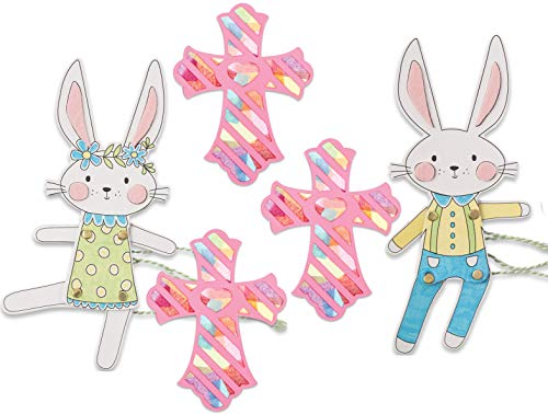 Easter Arts & Crafts Kits 108 Pieces String Boy & Girl Bunny Stained Glass Foam Crosses Bundle of 2 Kits-1 Religious Theme Easter and 1 Chipboard Rabbit Movable String Puppet