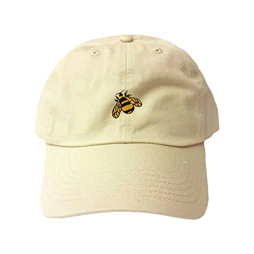 Go All Out Adjustable Khaki Adult Bumble Bee Embroidered Dad Hat