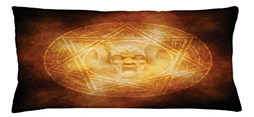 Ambesonne Horror House Throw Pillow Cushion Cover, Demon Trap Symbol Logo Ceremony Creepy Scary Ritual Fantasy Paranormal Design, Decorative Square Accent Pillow Case, 36 X 16 Inches, Orange by Ambesonne